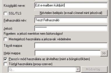 FTP kapcsolat beállítása